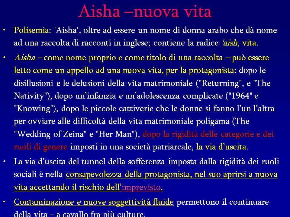 Aisha –nuova vita Polisemia: Aisha, oltre ad essere un nome di donna arabo che dà nome ad una raccolta di racconti in inglese; contiene la radice aish, vita.