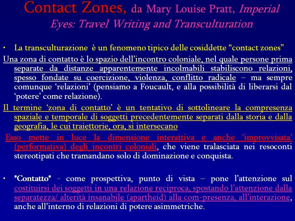 Contact Zones, da Contact Zones, da Mary Louise Pratt, Imperial Eyes: Travel Writing and Transculturation La transculturazione è un fenomeno tipico de