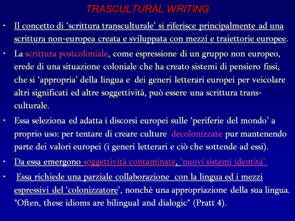 TRASCULTURAL WRITING Il concetto di scrittura transculturale si riferisce principalmente ad una scrittura non-europea creata e sviluppata con mezzi e traiettorie europee.