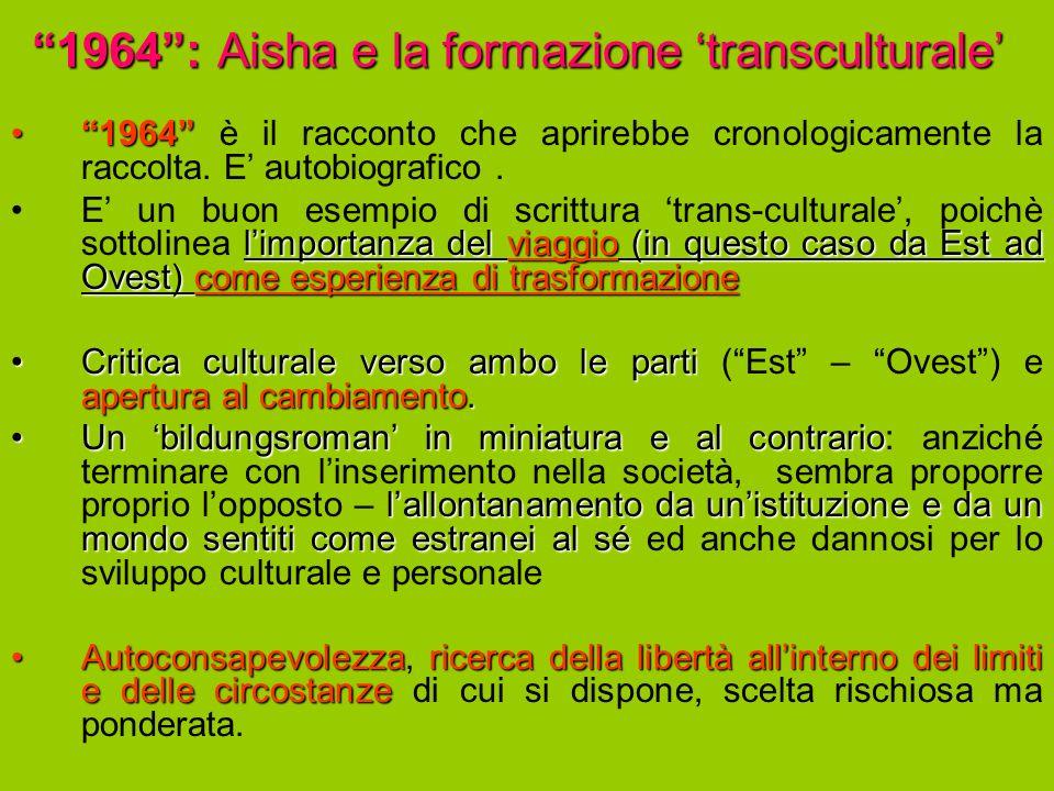 1964: Aisha e la formazione transculturale 19641964 è il racconto che aprirebbe cronologicamente la raccolta.