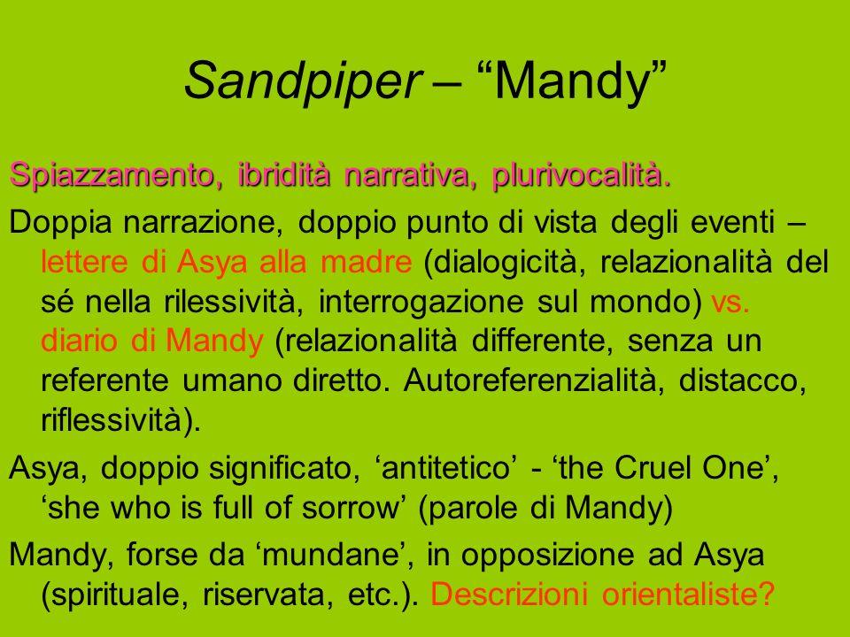 Sandpiper – Mandy Spiazzamento, ibridità narrativa, plurivocalità.