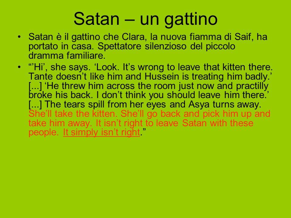 Satan – un gattino Satan è il gattino che Clara, la nuova fiamma di Saif, ha portato in casa.