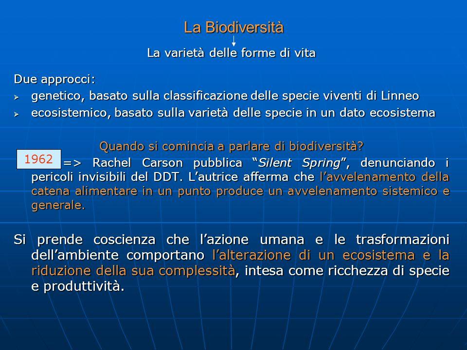 La Biodiversità La varietà delle forme di vita Due approcci: genetico, basato sulla classificazione delle specie viventi di Linneo genetico, basato su