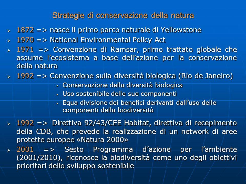 Strategie di conservazione della natura 1872 => nasce il primo parco naturale di Yellowstone 1872 => nasce il primo parco naturale di Yellowstone 1970
