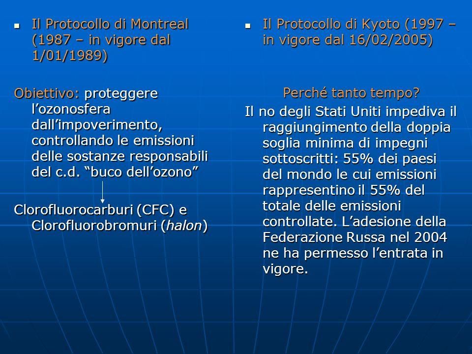 Il Protocollo di Montreal (1987 – in vigore dal 1/01/1989) Il Protocollo di Montreal (1987 – in vigore dal 1/01/1989) Obiettivo: proteggere lozonosfer