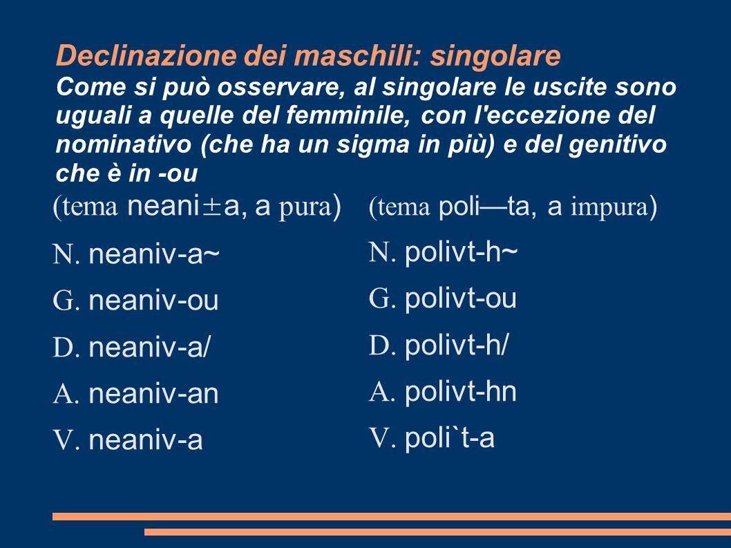Declinazione dei maschili: singolare Come si può osservare, al singolare le uscite sono uguali a quelle del femminile, con l'eccezione del nominativo