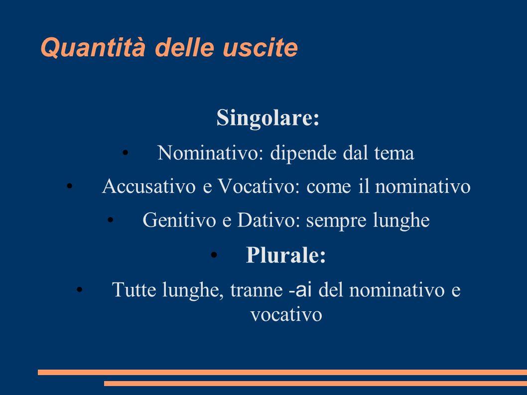 Quantità delle uscite Singolare: Nominativo: dipende dal tema Accusativo e Vocativo: come il nominativo Genitivo e Dativo: sempre lunghe Plurale: Tutt