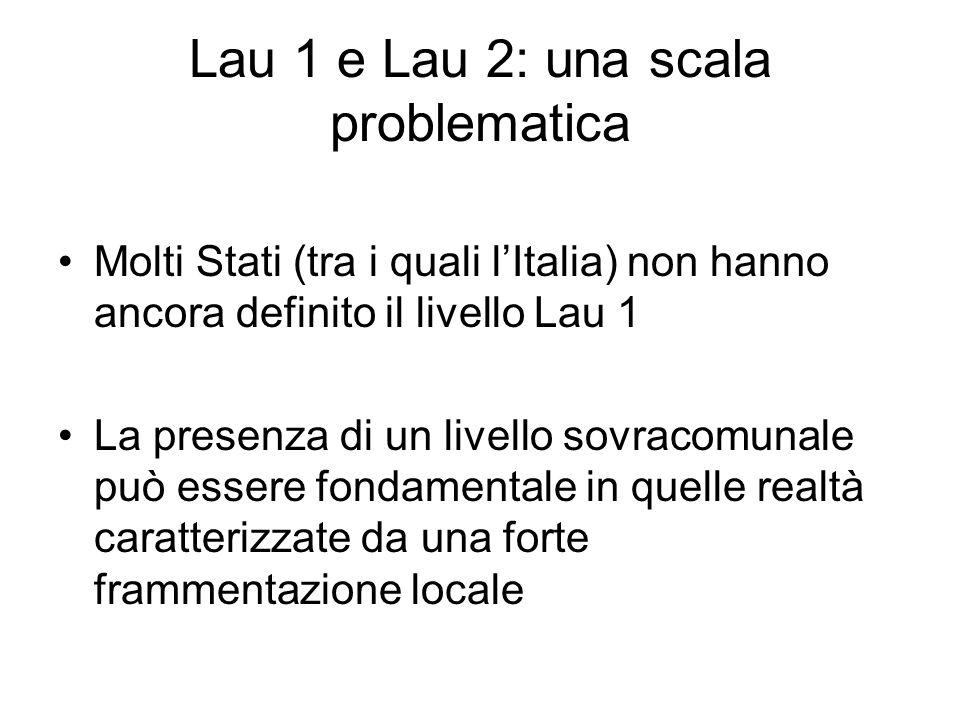 Lau 1 e Lau 2: una scala problematica Molti Stati (tra i quali lItalia) non hanno ancora definito il livello Lau 1 La presenza di un livello sovracomu