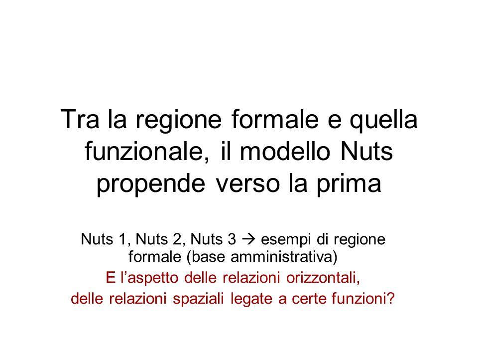 Tra la regione formale e quella funzionale, il modello Nuts propende verso la prima Nuts 1, Nuts 2, Nuts 3 esempi di regione formale (base amministrat