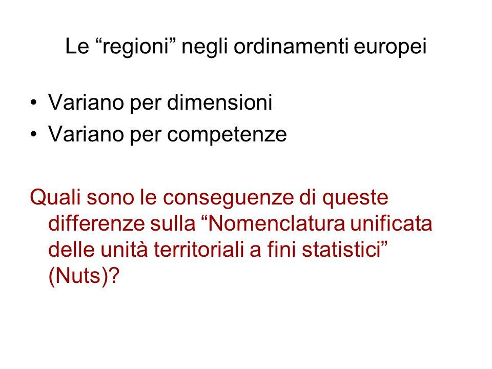 Le regioni negli ordinamenti europei Variano per dimensioni Variano per competenze Quali sono le conseguenze di queste differenze sulla Nomenclatura u