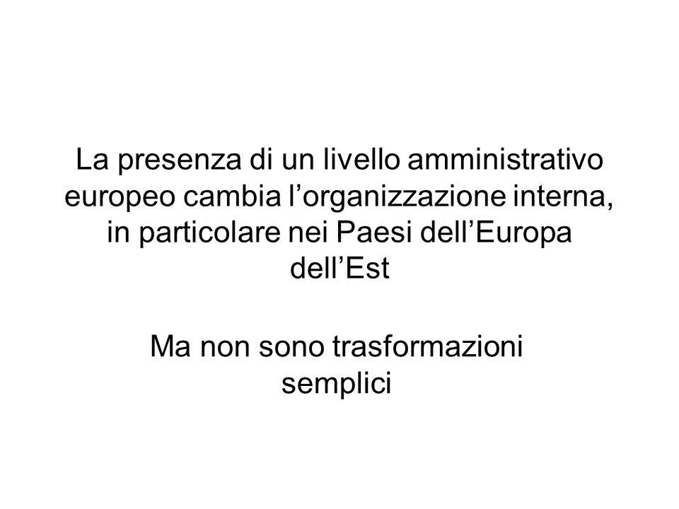 La presenza di un livello amministrativo europeo cambia lorganizzazione interna, in particolare nei Paesi dellEuropa dellEst Ma non sono trasformazion
