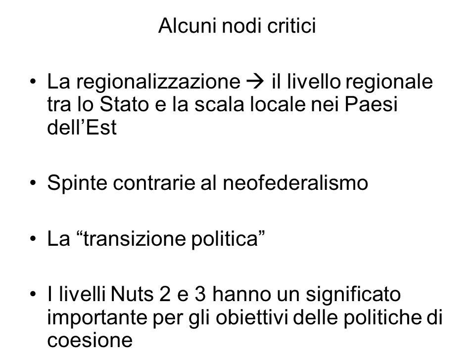 Alcuni nodi critici La regionalizzazione il livello regionale tra lo Stato e la scala locale nei Paesi dellEst Spinte contrarie al neofederalismo La t