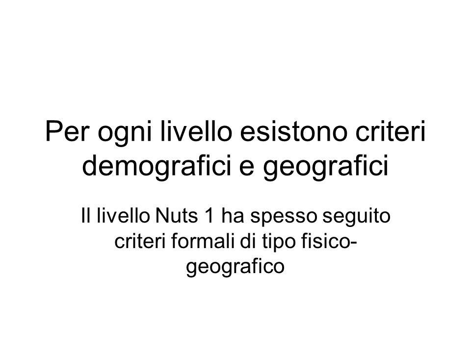 Per ogni livello esistono criteri demografici e geografici Il livello Nuts 1 ha spesso seguito criteri formali di tipo fisico- geografico