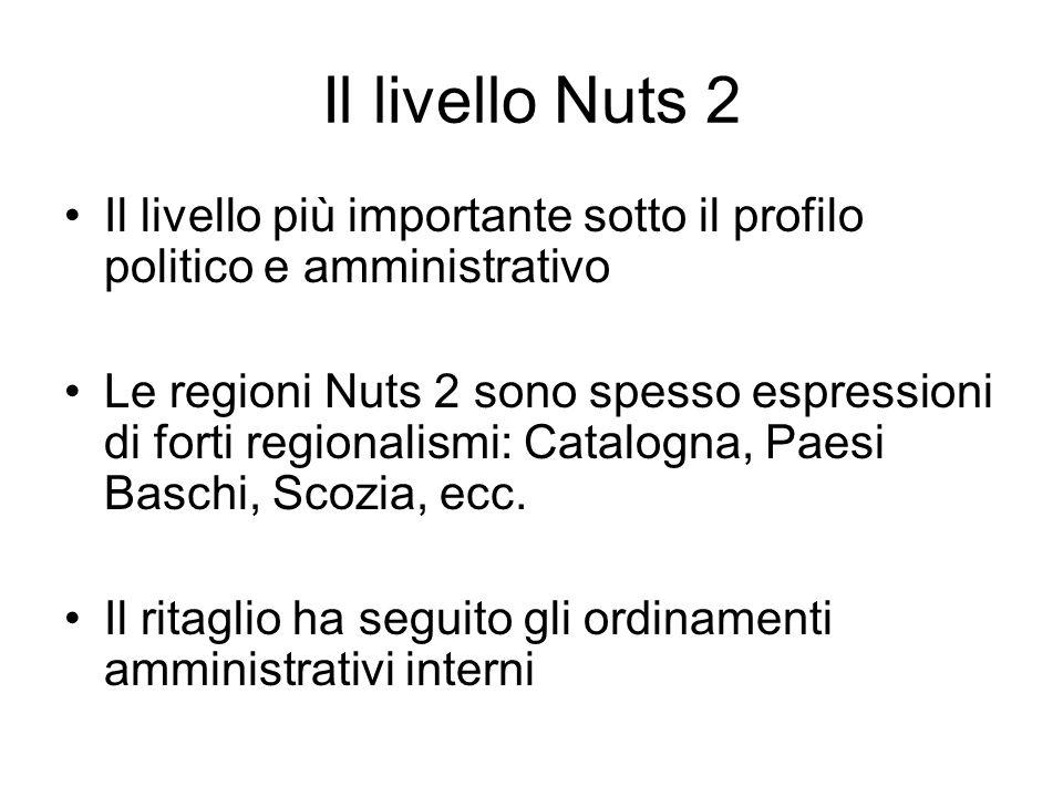 Il livello Nuts 2 Il livello più importante sotto il profilo politico e amministrativo Le regioni Nuts 2 sono spesso espressioni di forti regionalismi