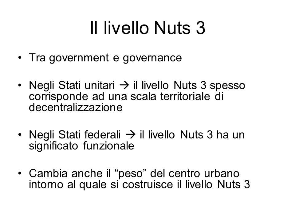 Il livello Nuts 3 Tra government e governance Negli Stati unitari il livello Nuts 3 spesso corrisponde ad una scala territoriale di decentralizzazione
