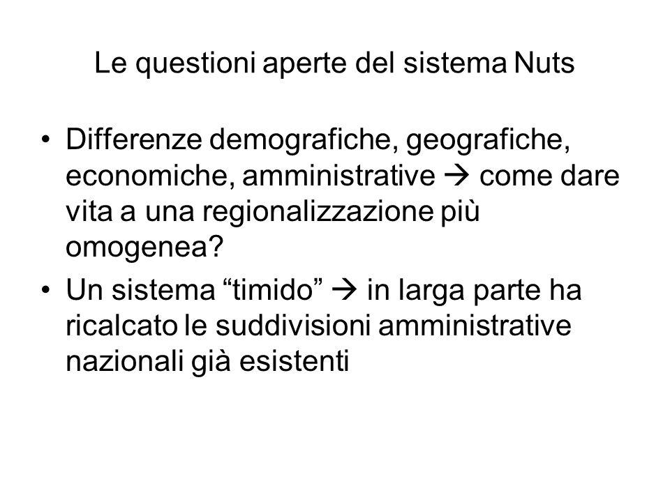 Le questioni aperte del sistema Nuts Differenze demografiche, geografiche, economiche, amministrative come dare vita a una regionalizzazione più omoge