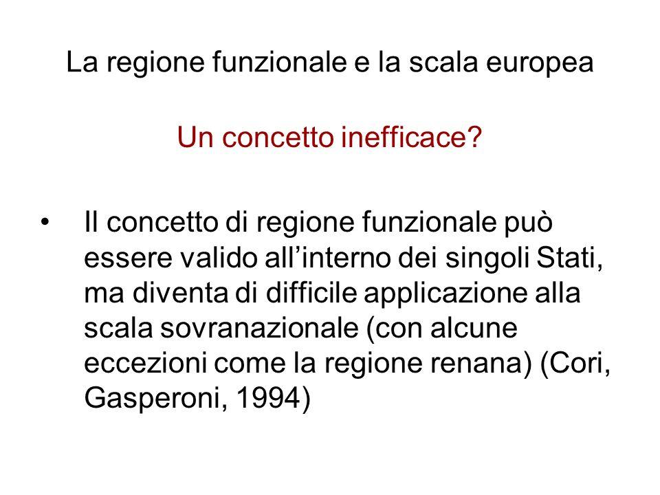 La regione funzionale e la scala europea Un concetto inefficace? Il concetto di regione funzionale può essere valido allinterno dei singoli Stati, ma