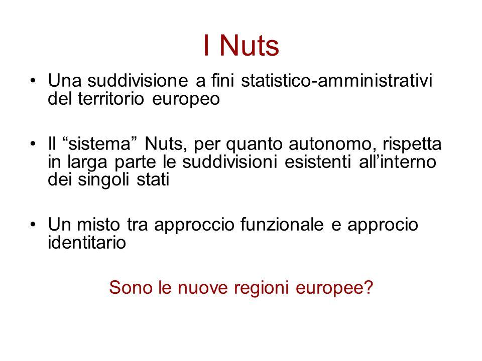 I Nuts Una suddivisione a fini statistico-amministrativi del territorio europeo Il sistema Nuts, per quanto autonomo, rispetta in larga parte le suddi