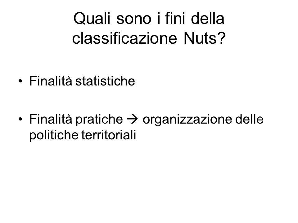 Quali sono i fini della classificazione Nuts? Finalità statistiche Finalità pratiche organizzazione delle politiche territoriali