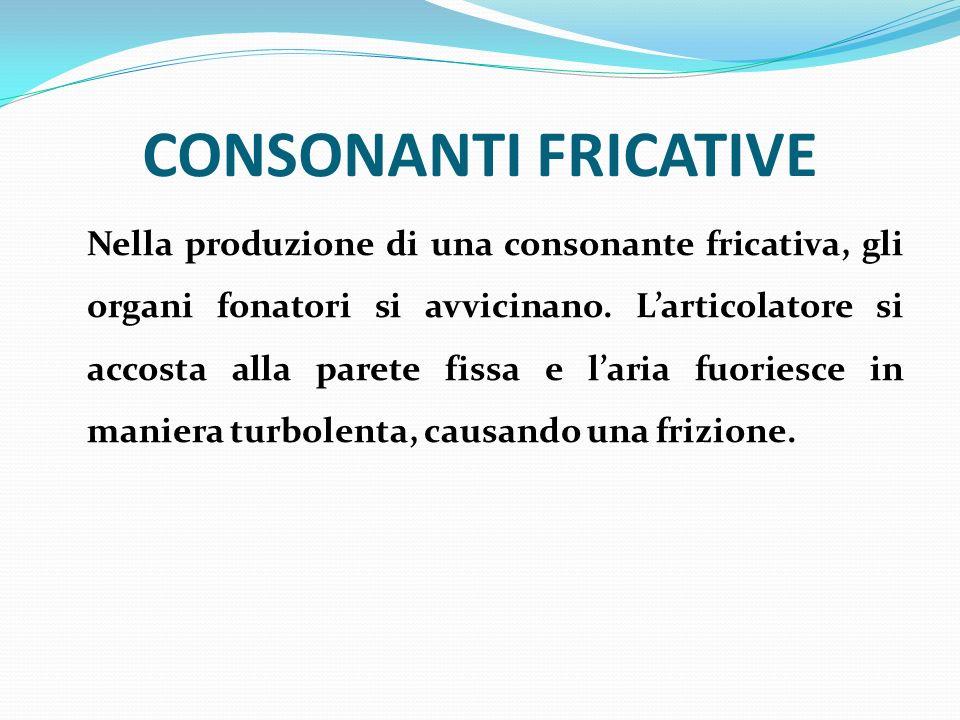 CONSONANTI FRICATIVE Nella produzione di una consonante fricativa, gli organi fonatori si avvicinano. Larticolatore si accosta alla parete fissa e lar