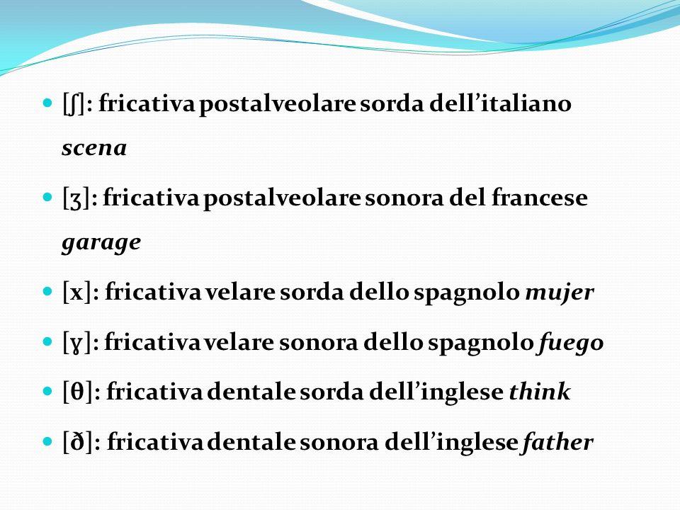 [ ʃ ]: fricativa postalveolare sorda dellitaliano scena [ ʒ ]: fricativa postalveolare sonora del francese garage [x]: fricativa velare sorda dello sp