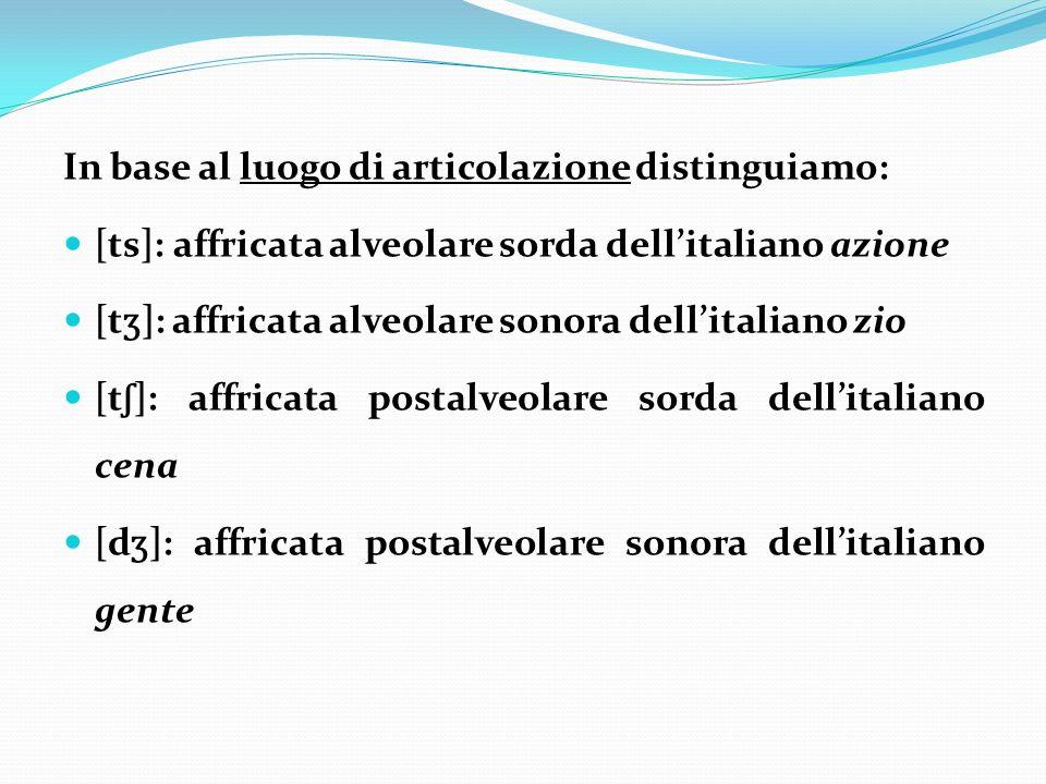 In base al luogo di articolazione distinguiamo: [ts]: affricata alveolare sorda dellitaliano azione [t ʒ ]: affricata alveolare sonora dellitaliano zi