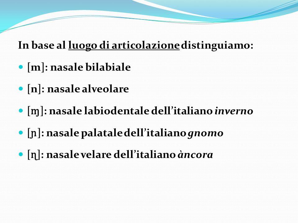 In base al luogo di articolazione distinguiamo: [m]: nasale bilabiale [n]: nasale alveolare [ ɱ ]: nasale labiodentale dellitaliano inverno [ ɲ ]: nas