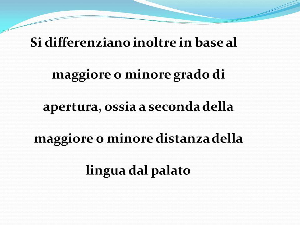 Si differenziano inoltre in base al maggiore o minore grado di apertura, ossia a seconda della maggiore o minore distanza della lingua dal palato