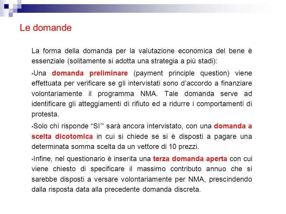 Le domande La forma della domanda per la valutazione economica del bene è essenziale (solitamente si adotta una strategia a più stadi): Una domanda pr