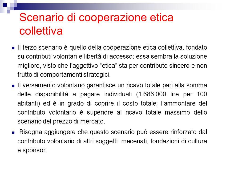 Scenario di cooperazione etica collettiva Il terzo scenario è quello della cooperazione etica collettiva, fondato su contributi volontari e libertà di