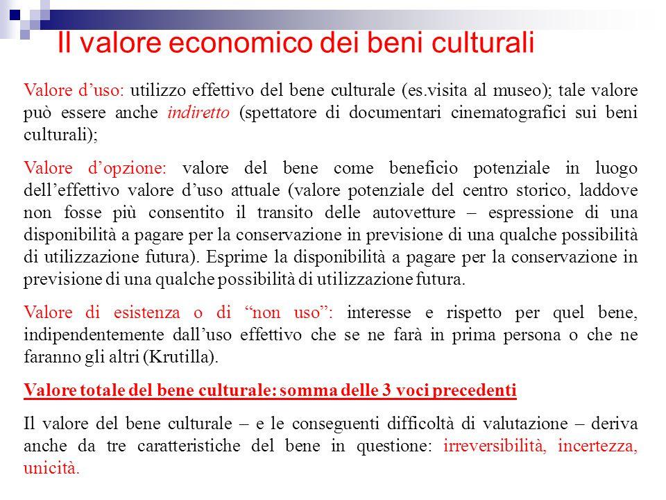 Il valore economico dei beni culturali Valore duso: utilizzo effettivo del bene culturale (es.visita al museo); tale valore può essere anche indiretto