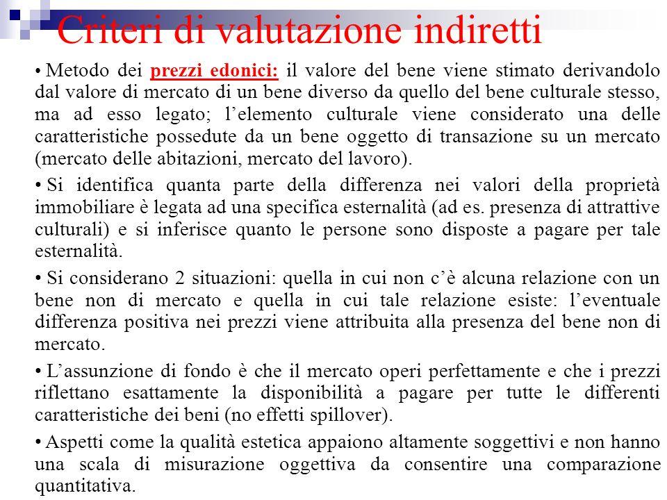 Criteri di valutazione indiretti Metodo dei prezzi edonici: il valore del bene viene stimato derivandolo dal valore di mercato di un bene diverso da q