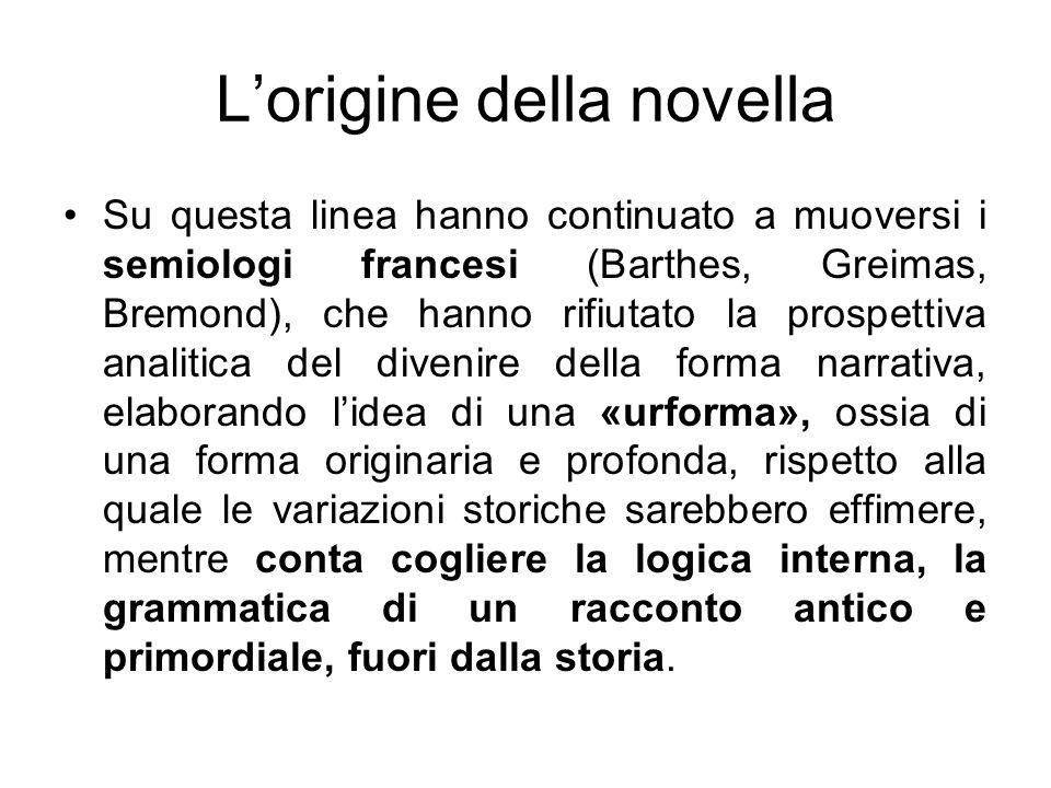 Lorigine della novella Su questa linea hanno continuato a muoversi i semiologi francesi (Barthes, Greimas, Bremond), che hanno rifiutato la prospettiv