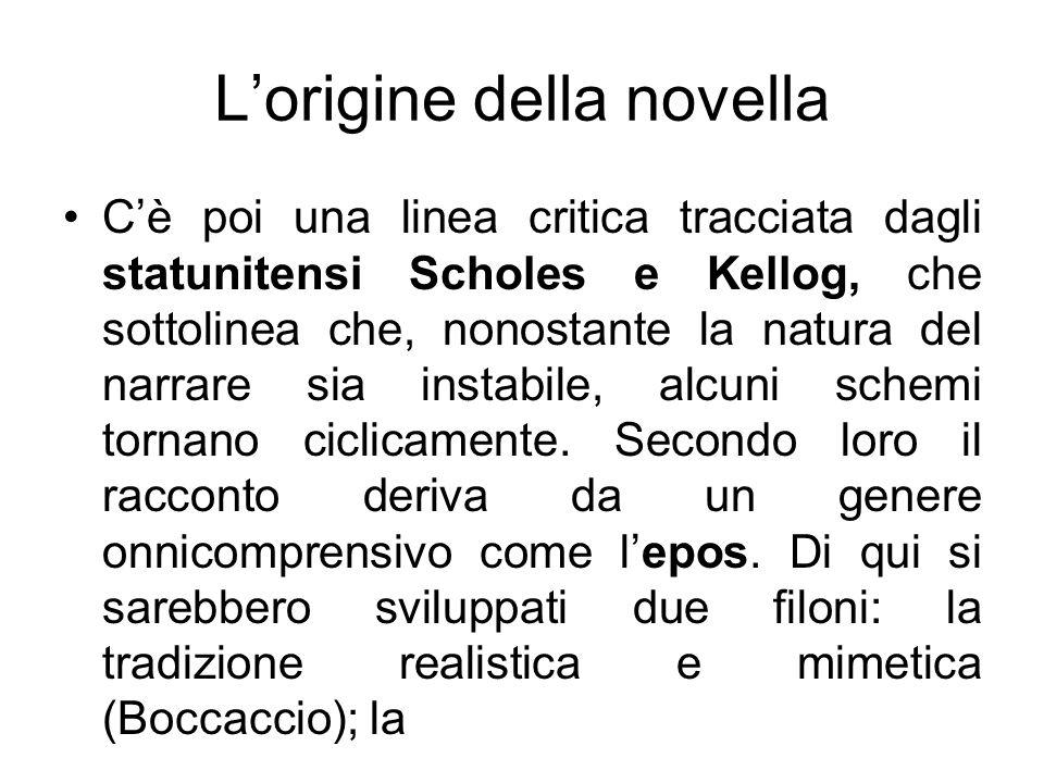 Lorigine della novella Cè poi una linea critica tracciata dagli statunitensi Scholes e Kellog, che sottolinea che, nonostante la natura del narrare si