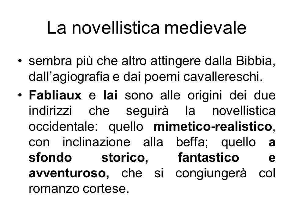 La novellistica medievale sembra più che altro attingere dalla Bibbia, dallagiografia e dai poemi cavallereschi. Fabliaux e lai sono alle origini dei