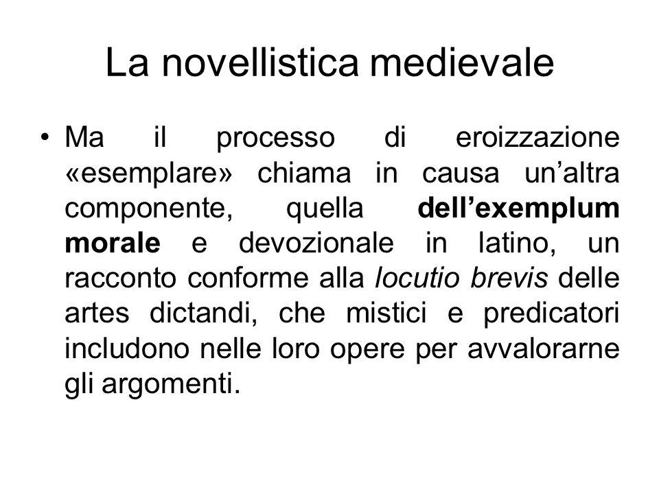 La novellistica medievale Ma il processo di eroizzazione «esemplare» chiama in causa unaltra componente, quella dellexemplum morale e devozionale in l