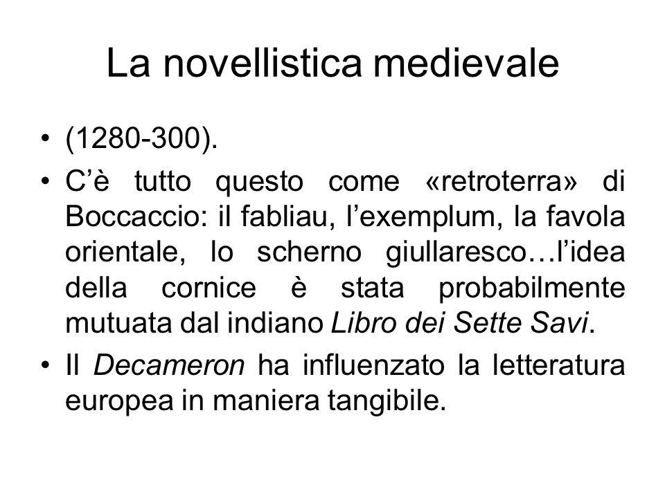(1280-300). Cè tutto questo come «retroterra» di Boccaccio: il fabliau, lexemplum, la favola orientale, lo scherno giullaresco…lidea della cornice è s