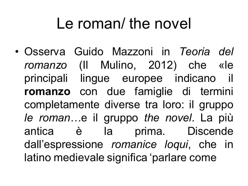 Osserva Guido Mazzoni in Teoria del romanzo (Il Mulino, 2012) che «le principali lingue europee indicano il romanzo con due famiglie di termini comple