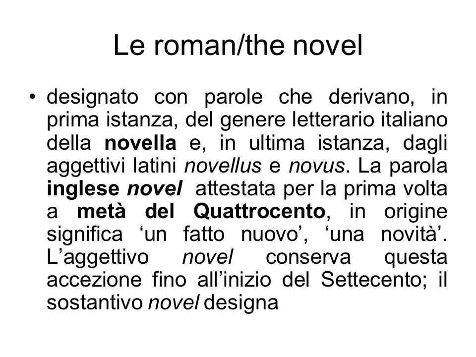 designato con parole che derivano, in prima istanza, del genere letterario italiano della novella e, in ultima istanza, dagli aggettivi latini novellu