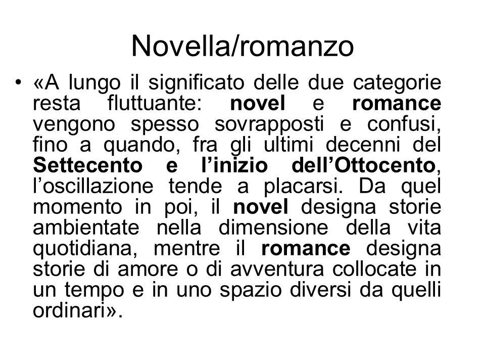 Novella/romanzo «A lungo il significato delle due categorie resta fluttuante: novel e romance vengono spesso sovrapposti e confusi, fino a quando, fra