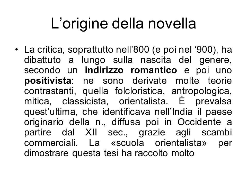 Lorigine della novella materiale di varia natura, catalogandolo e interpretandolo.
