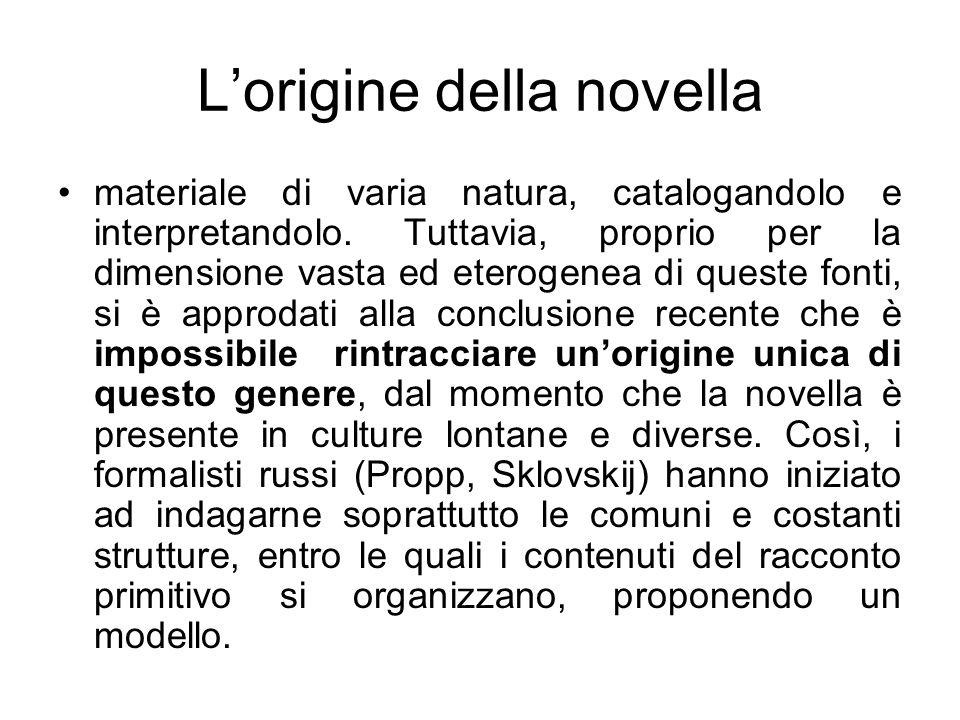 Lorigine della novella materiale di varia natura, catalogandolo e interpretandolo. Tuttavia, proprio per la dimensione vasta ed eterogenea di queste f