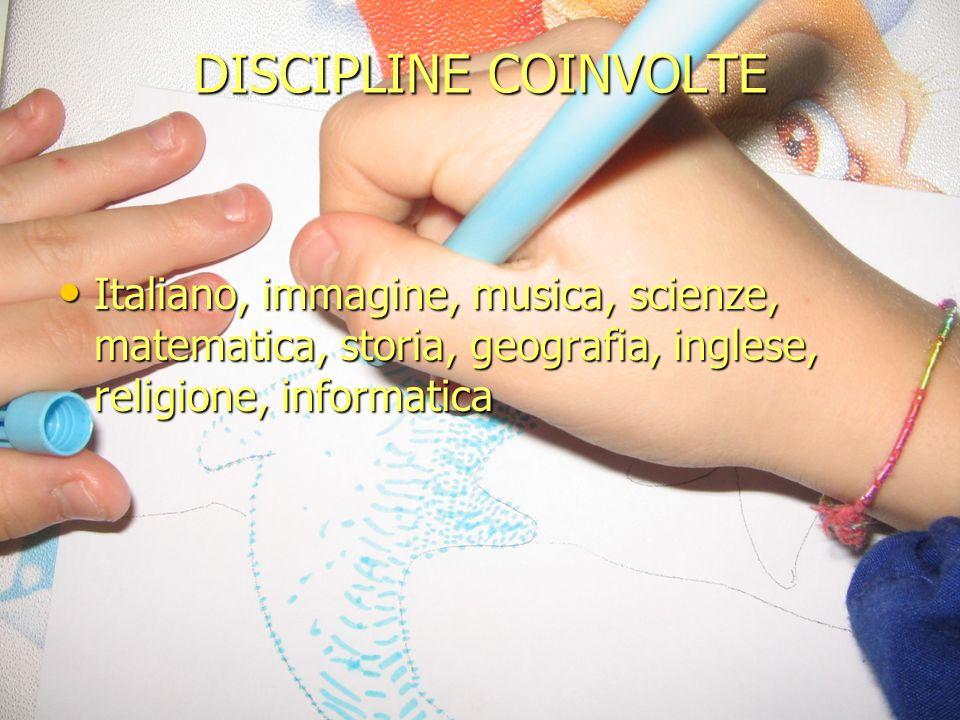 DISCIPLINE COINVOLTE Italiano, immagine, musica, scienze, matematica, storia, geografia, inglese, religione, informatica Italiano, immagine, musica, s