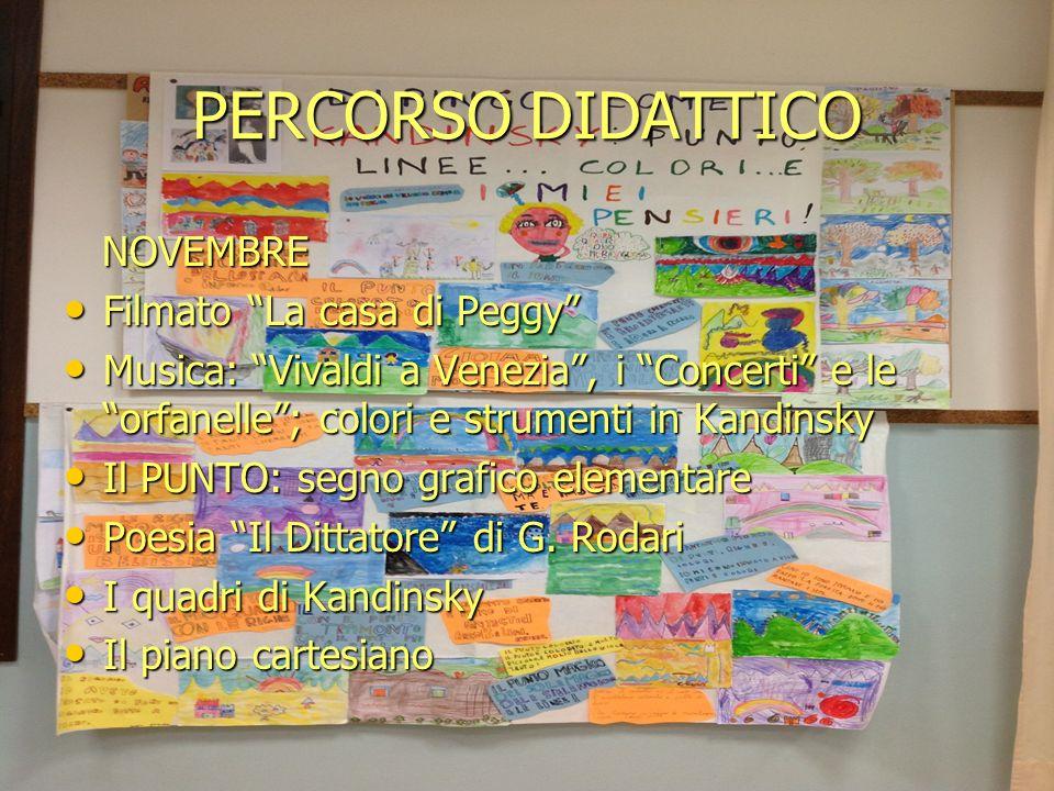 PERCORSO DIDATTICO NOVEMBRE NOVEMBRE Filmato La casa di Peggy Filmato La casa di Peggy Musica: Vivaldi a Venezia, i Concerti e le orfanelle; colori e
