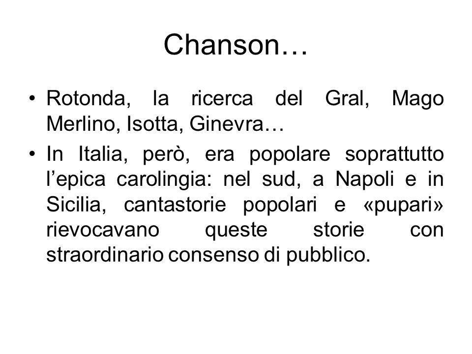 Chanson… Rotonda, la ricerca del Gral, Mago Merlino, Isotta, Ginevra… In Italia, però, era popolare soprattutto lepica carolingia: nel sud, a Napoli e