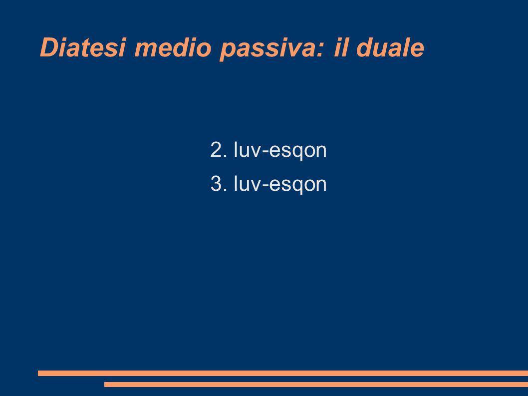 Diatesi medio passiva: il duale 2. luv-esqon 3. luv-esqon