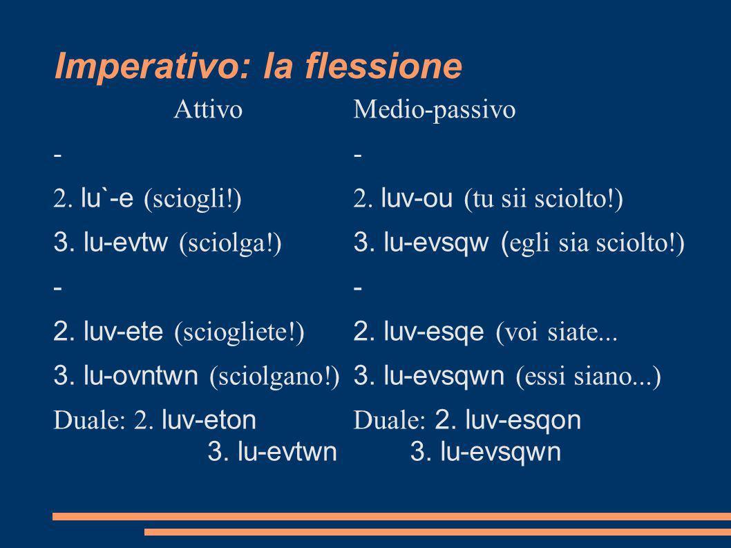 Imperativo: la flessione Attivo - 2. lu`-e (sciogli!) 3. lu-evtw (sciolga!) - 2. luv-ete (sciogliete!) 3. lu-ovntwn (sciolgano!) Duale: 2. luv-eton 3.