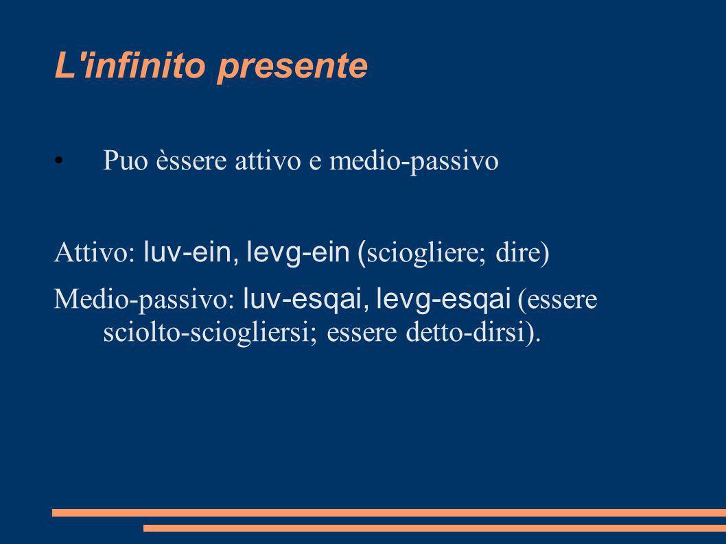 L'infinito presente Puo èssere attivo e medio-passivo Attivo: luv-ein, levg-ein ( sciogliere; dire) Medio-passivo: luv-esqai, levg-esqai (essere sciol