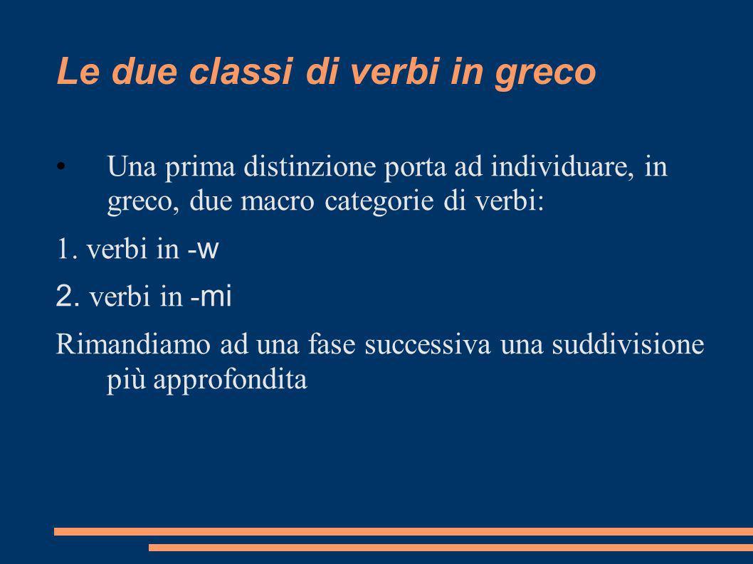 Le due classi di verbi in greco Una prima distinzione porta ad individuare, in greco, due macro categorie di verbi: 1. verbi in - w 2. verbi in - mi R