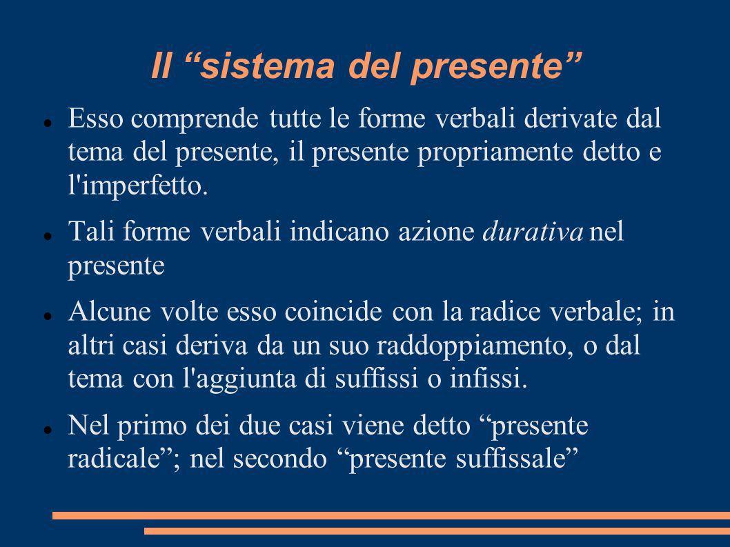Il sistema del presente Esso comprende tutte le forme verbali derivate dal tema del presente, il presente propriamente detto e l'imperfetto. Tali form